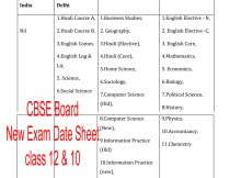CBSE Exam Date Sheet 2021 Class 10, Class 12 cbse.nic.in