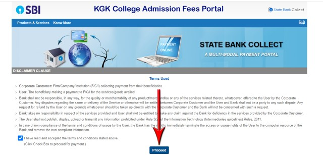 Step 2 - KGK College Moradabad admission fees submission