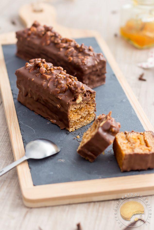 pain d epices moelleux marmelade chocolat au lait noix caramelisees au grue de cacao et a la