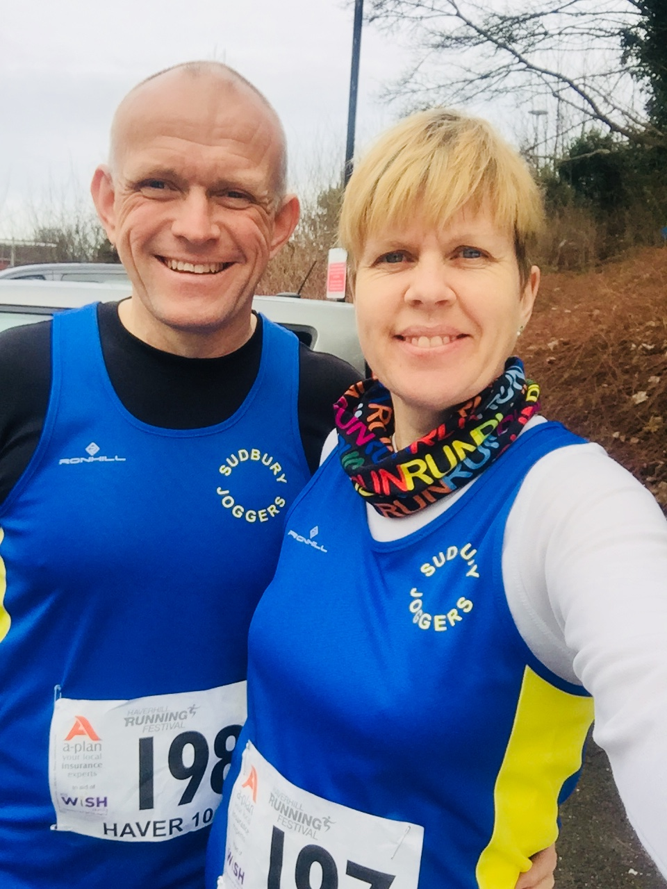 Steve Jeggo (left), Sarah Jeggo (right) at Haver10K 2018