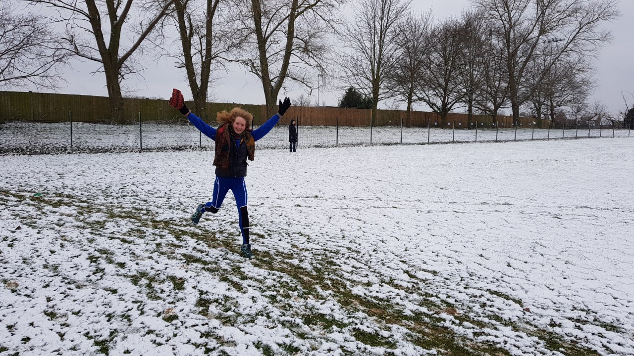 Ruth Cowlin at a snowy Great Cornard parkrun