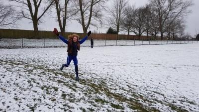 Ruth Cowlin at a snowy Great Cornard parkrun