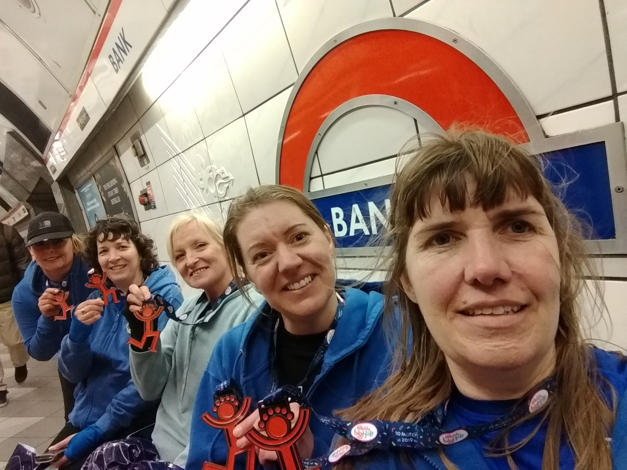 Sue Moye, Ann Alexander, Sandy Maloy, Charlotte Richardson and Jodie Budd returning home after completing the very windy, London Vitality Big Half Marathon.