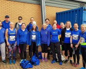 Adam Mumford, Richard Smith, Jimmy Secker, Sandy Maloy, Benjamin Cuthbert, Charlotte Richardson, Mark Johnston-Wood, Dee St Ledger, Sharon Breward, Steve Roberts, Kathryn Ross-Cuthbert, Steve Jeggo, Claire Rooke, Sally Sandford, Sian Guyton, Emma Richbell and Sarah Jeggo shortly before Colchester Half Marathon.