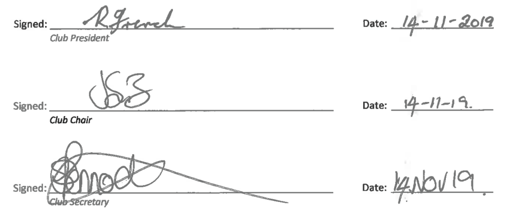 Constitution signatures by the Club's President, Chair and Secretary
