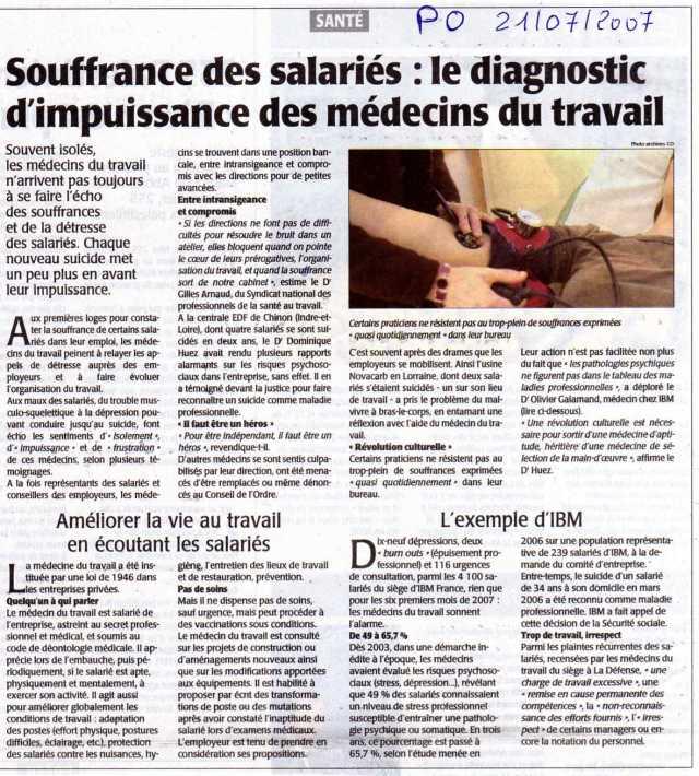 Le diagnostique d'impuissance des médecins du travail