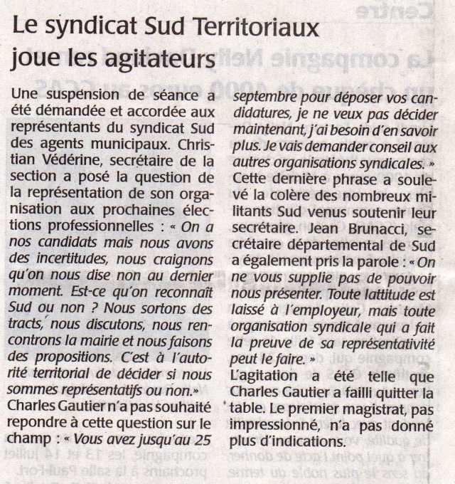 Le syndicat SUD joue lesagitateurs au conseil municipal de Saint-Herblain