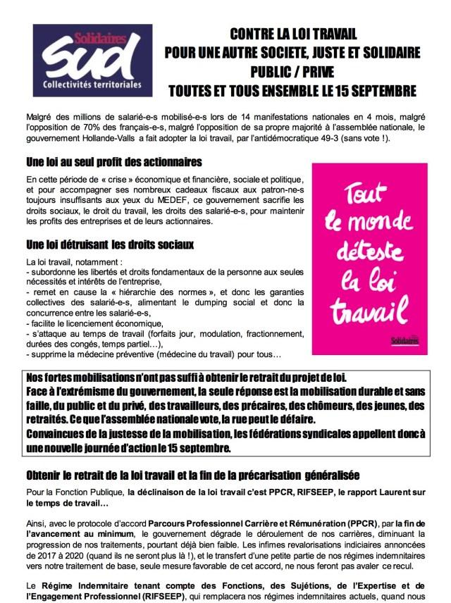 Grève 15 septembre 2016