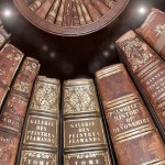 Several old library books.