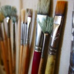 A selection of fine art paintbrushes.