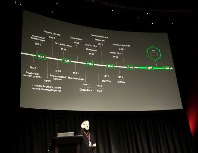a timeline of motion graphic technology from 1878 through the present on a screen above Colum Slevin on stage