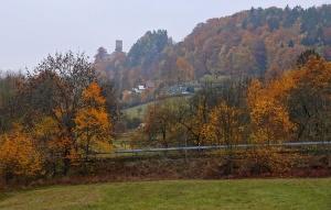 Zamek Frýdštejn widziany z Małej Skały