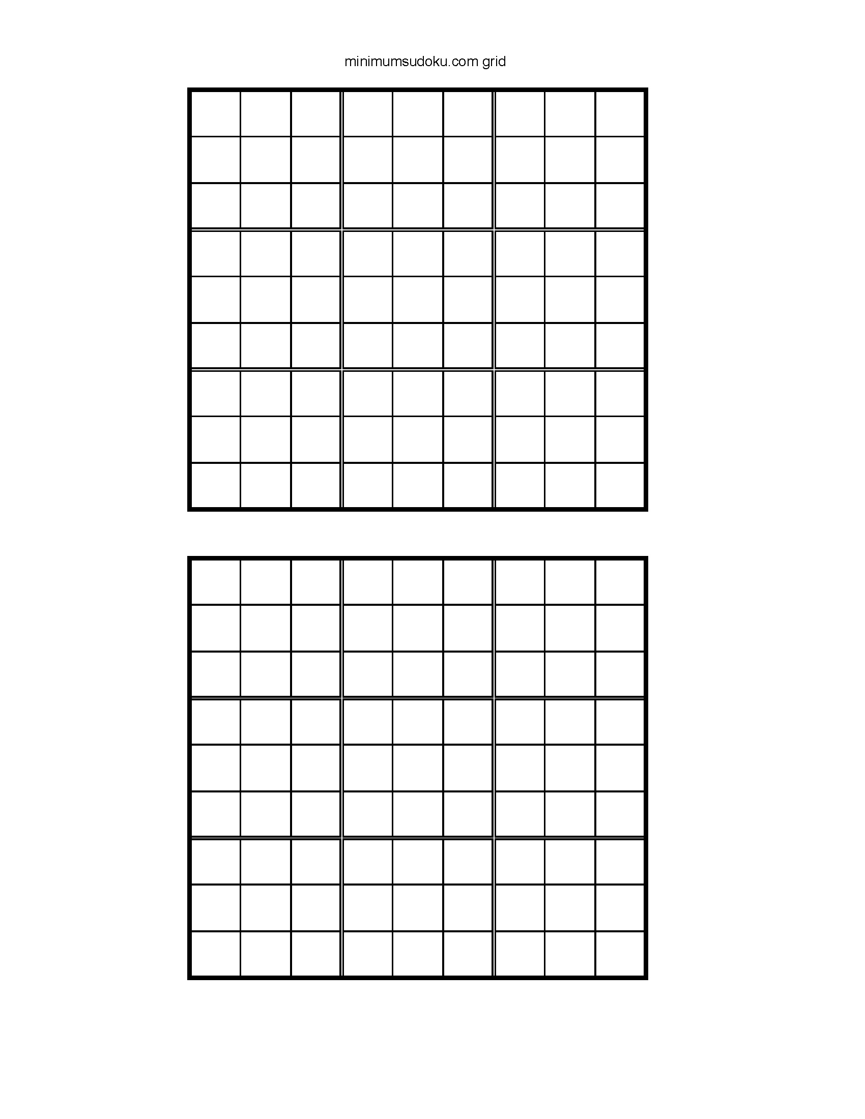 Printable Blank Sudoku Grids 2 Per Page