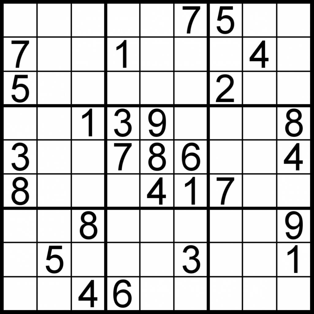 Printable Sudoku Worksheet