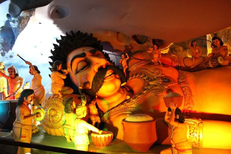 Figure of Kumbhakarna, brother of Ravana  deep sleeping, Batu caves