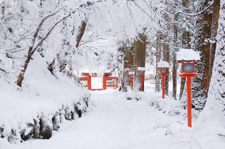 snowing in the Japanese shrine
