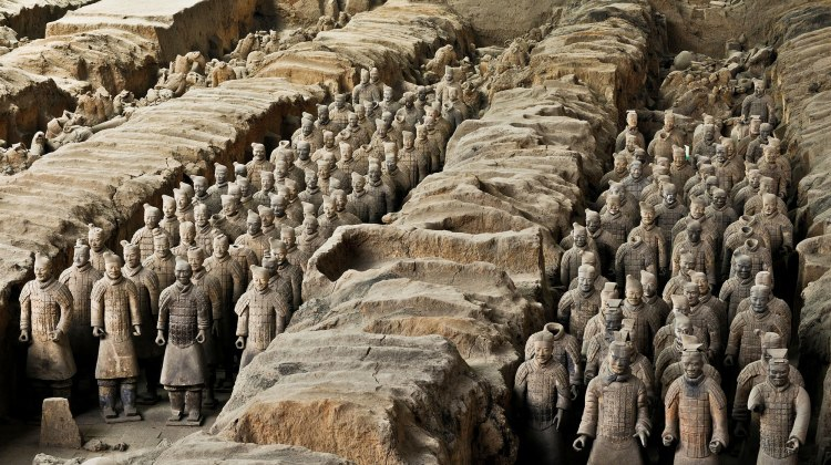 The Terracotta Army was constructed to accompany the tomb of China's First Emperor as an afterlife guard. There are thousands of detailed life-size terracotta soldier models represent the guard troops of the first emperor — Qin Shihuang. They were molded in parts, fired, then assembled and painted.  The Terracotta Army Museum in Xi'an is a must-see. It is considered one of the greatest archaeological sites in the world, and one of the greatest discoveries of the 20th century.