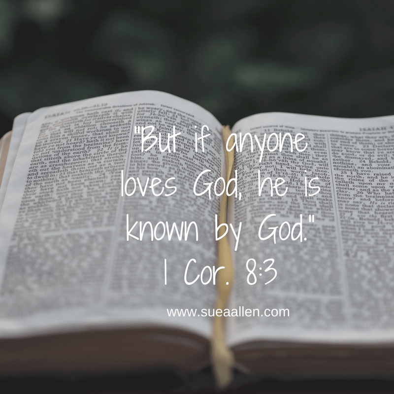 """But if anyone loves God, he is known by God."" (1 Cor. 8-3)"