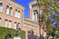 Tommy Trojan in front of Bovard