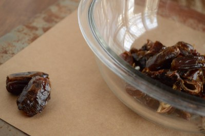 Place Chopped, Pitted Dates in Pyrex Bowl