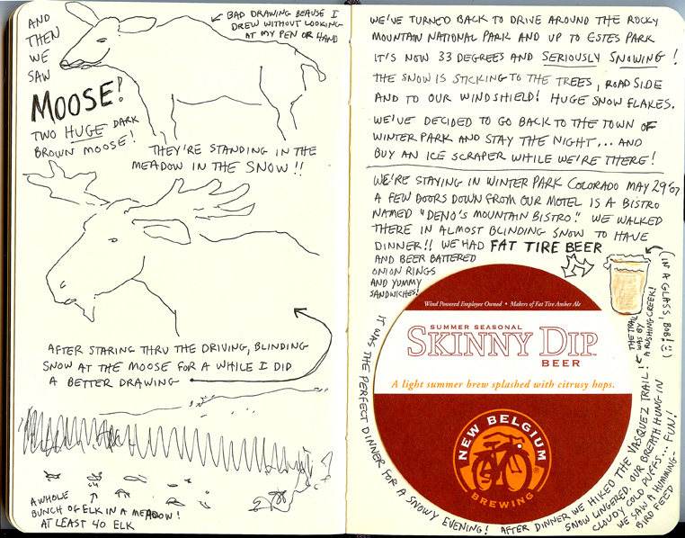 handwritten page with drawings from Sue Clancy's Oregon Coast sketchbook
