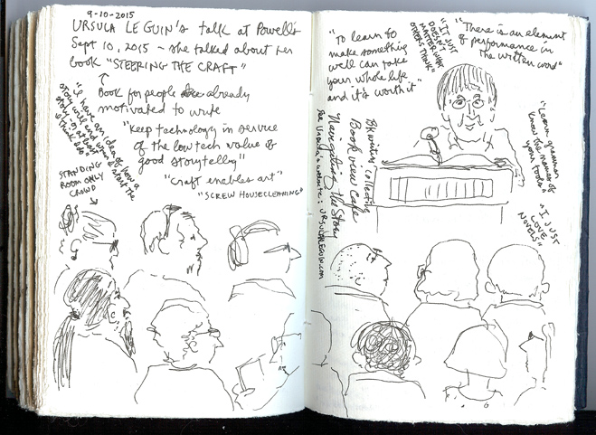 Sue Clancy's sketchbook page created during Ursula K. Le Guin's talk at Powell's bookstore