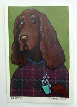 Espresso Spaniel by Sue Clancy