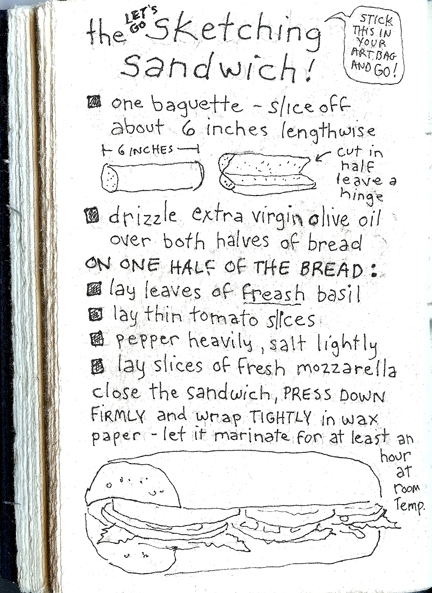 the Let's Go Sketching Sandwich - recipe and drawing in Sue Clancy's sketchbook