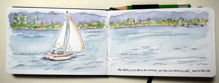 """sailboat on water"" sketchbook page by Sue Clancy"