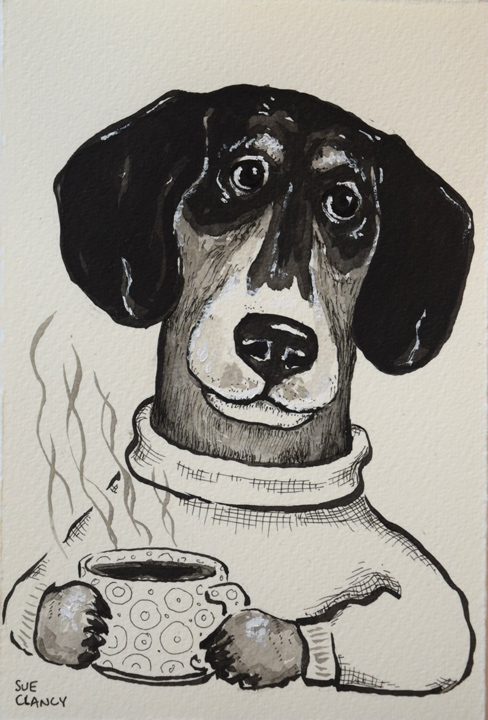 """Digger"" by Clancy - ink on handmade paper https://store.bookbaby.com/book/Dogs-By-Sue-Clancy"