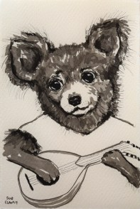 Fuzzy by Clancy (ink on handmade paper)