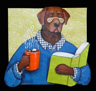 Hot Chocolate Lab by Sue Clancy (mixed media handmade paper collage)