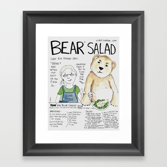 bear-salad-framed-prints