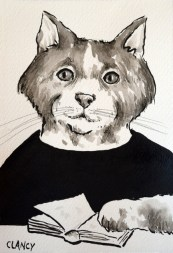 """""""Starr"""" by Clancy 5 x 7 inches ink on handmade paper"""