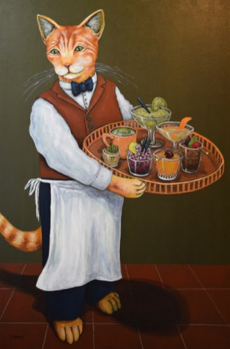 """""""Purrfecting Happy Hour"""" by Clancy36 x 24 x 2 inches (h x w x d)Handmade paper and acrylic on cradled board"""