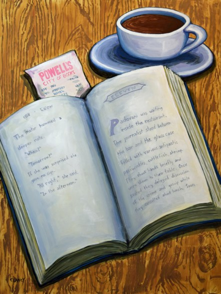 """A Novel Morning"" - by Clancy - 24 x 18 - acrylic and gouache on board"