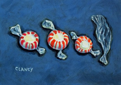 """""""Mint Math"""" by Clancy - 5 x 7 inches - acrylic and gouache on board"""