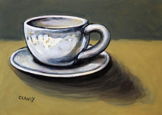 """Coffee City"" - by Clancy - 5 x 7 inches - acrylic and gouache on board"