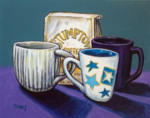 """Coffee With Friends"" - by Clancy - 8 x 10 inches- acrylic and gouache on board"