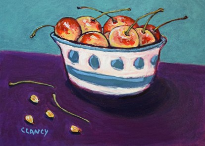 """""""Life's a bowl of cherries, stems pits and all"""" - by Clancy - 8 x 10 inches - acrylic and gouache on board"""