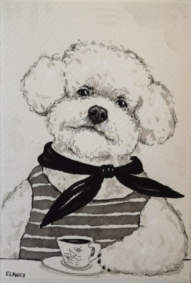 """Pierre"" - by Clancy - 7 x 5 inches - ink on handmade paper"