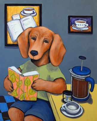 """""""Leaves And Grounds: Poems for the Canine Soul"""" - by Clancy - 20 x 16 inches - acrylic on cradled board"""