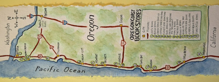 Oregon Coast Bookstores map - https://www.theydrawandtravel.com/artists/sue-clancy