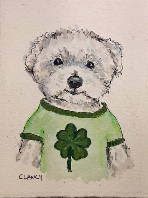 """""""Lucky"""" by Clancy (ink and gouache on paper)"""