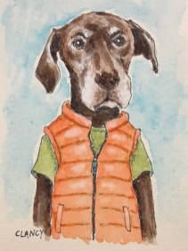 """""""Roy"""" by Clancy - 3.5 x 2.5 inches - ink and gouache on paper"""