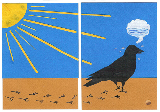 page 2 from - The Crow and The Water Jug - a wordless Aesop counting story by Sue Clancy