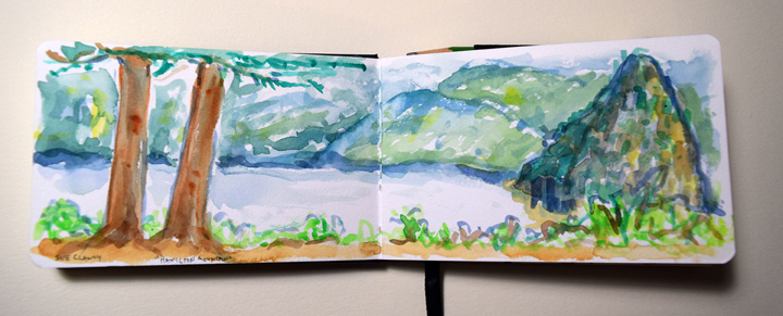 """page from Sue Clancy's """"Glad to be Alive"""" sketchbook. (pen, ink and watercolor)"""