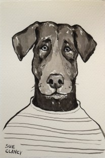 Larry by Sue Clancy (brush and ink on handmade paper)