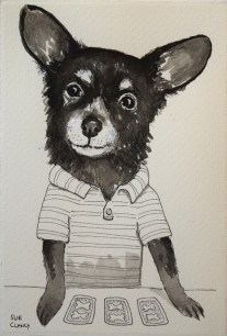 """Monty"" by Clancy - ink on handmade paper - https://store.bookbaby.com/book/Dogs-By-Sue-Clancy"