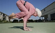 granny doing handstand